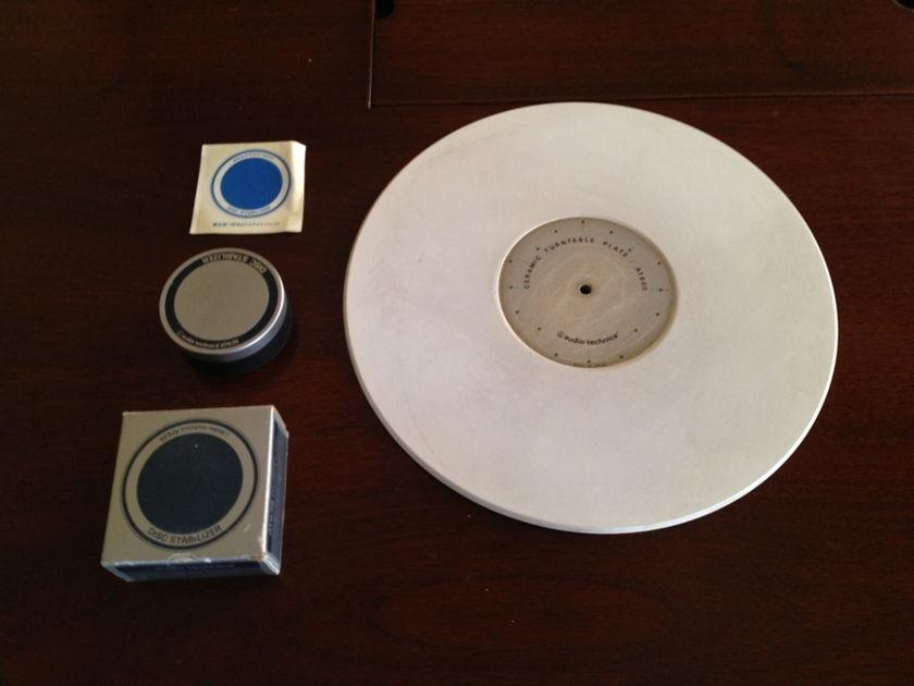 Audio Technica Ceramic TT Plate AT600 + disc stabilizer AT638 RARE! RARE! RARE!