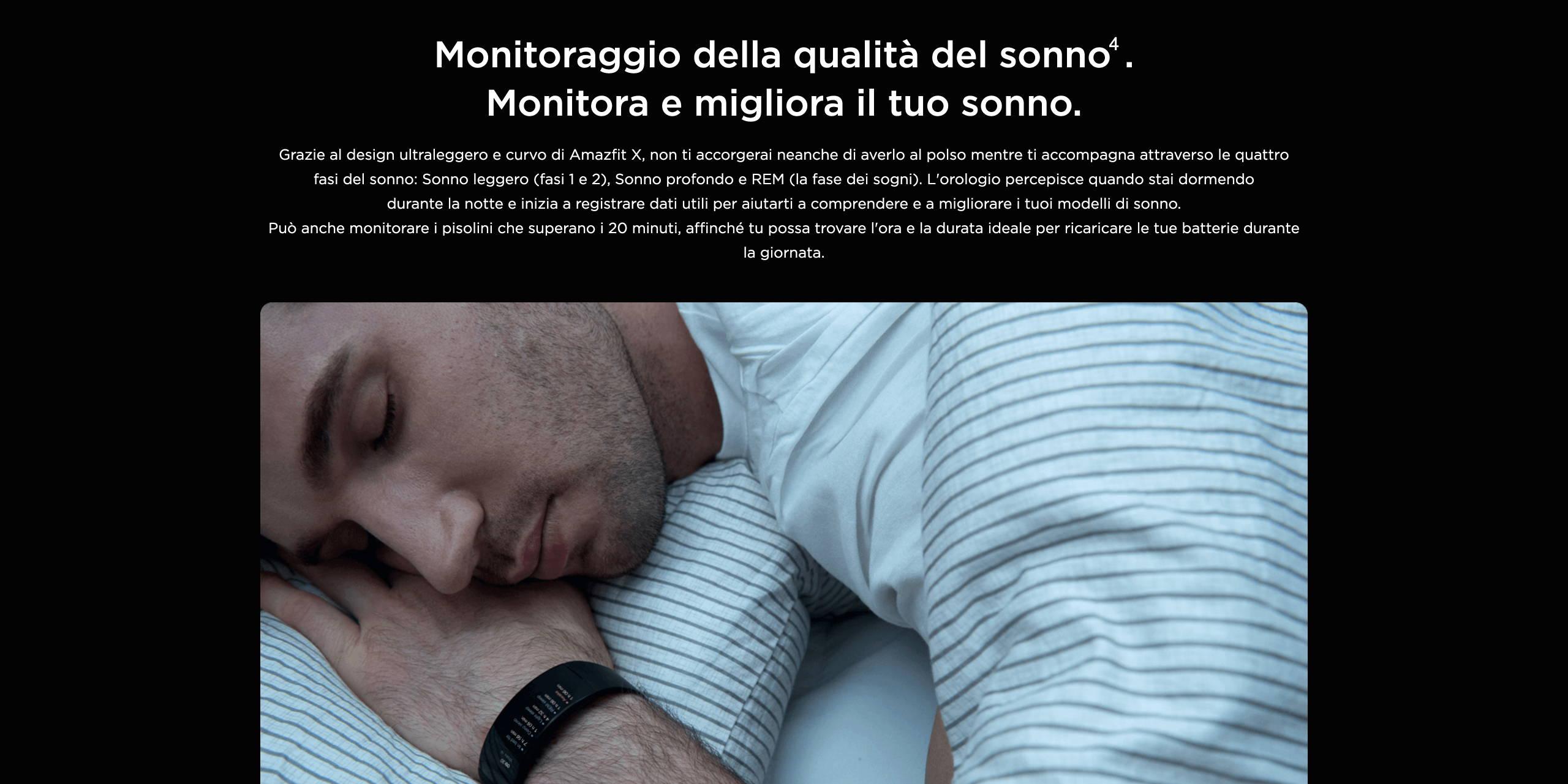 Amazfit X - Monitoraggio della qualità del sonno. Monitora e migliora il tuo sonno.