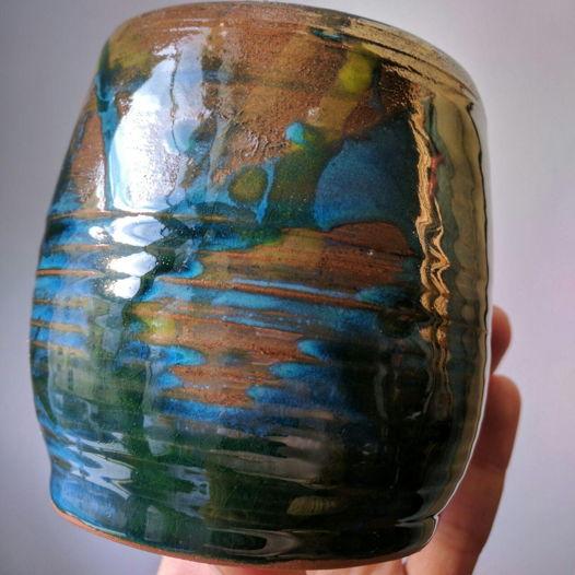 Сине-коричневый набор из чашки и терелочки ручной работы из глины