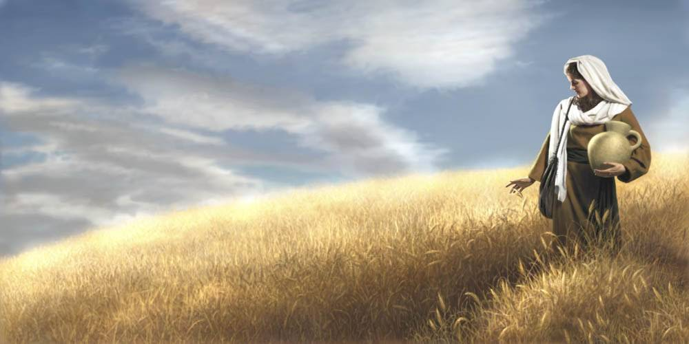 Painting of biblical woman walking through a vast field of wheat.