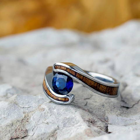 koa wood tension set sapphire engagement ring