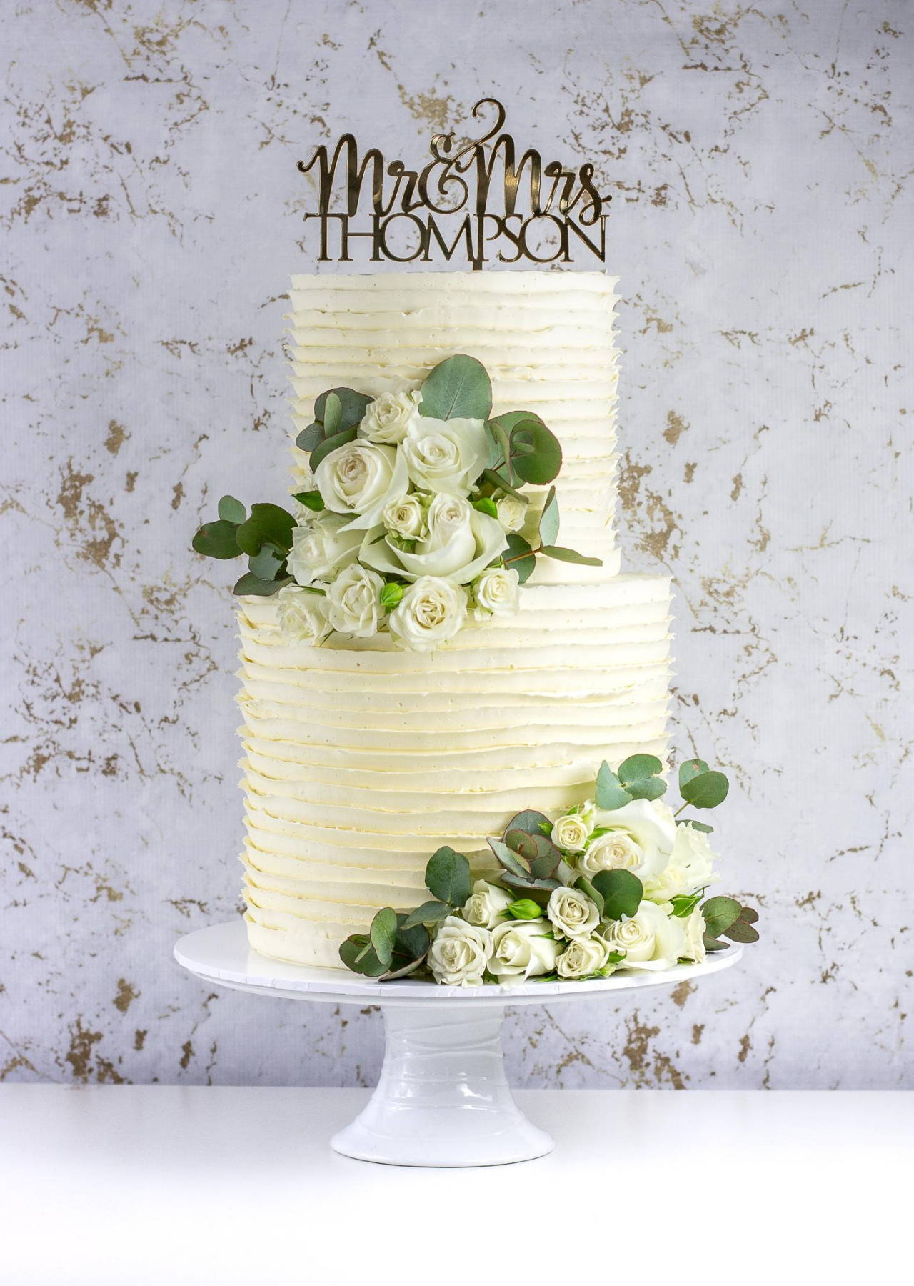 2 Tier Wedding Cake with Ruffle Buttercream Finish and White Roses