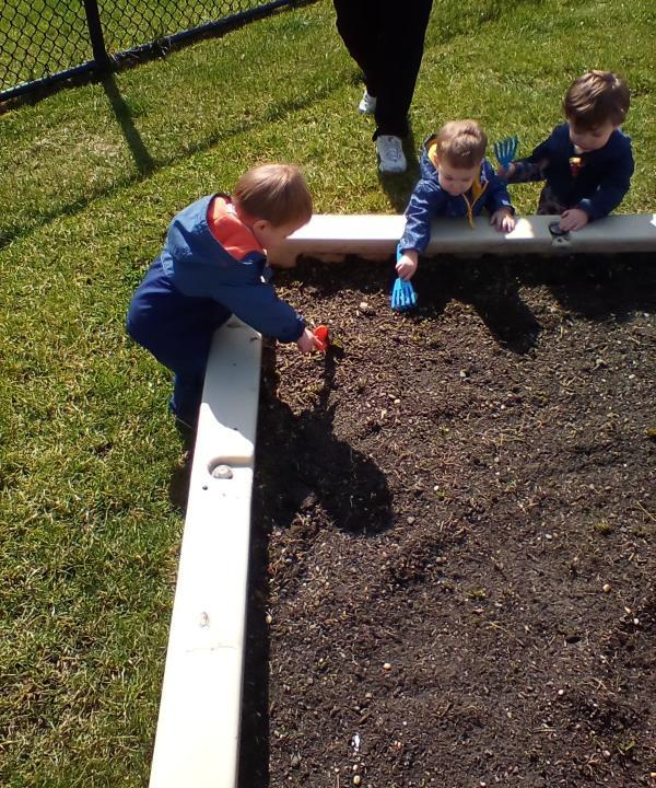 Toddlers getting the Primrose Patch Ready