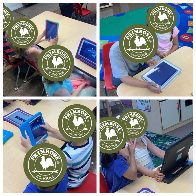 kindergarten students using the polyup app on their ipads during class