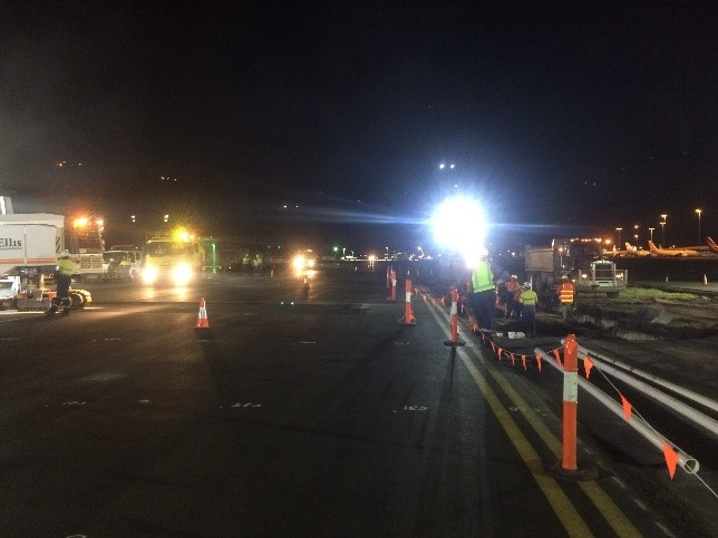 A majority of the asphalt works needed to be undertaken at night when the taxiways could be safely closed.