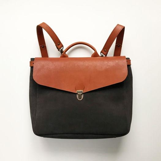 Кожаный рюкзак-портфель Gray Suede/Cognac XS