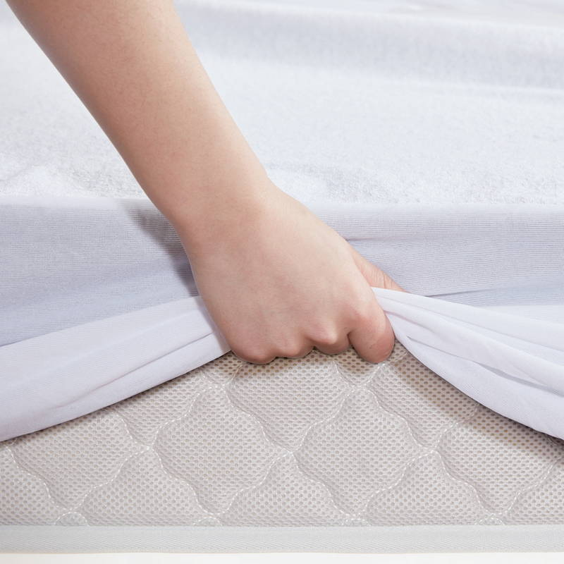 sleep zone bedding website store products collections dual protection mattress protector white side view
