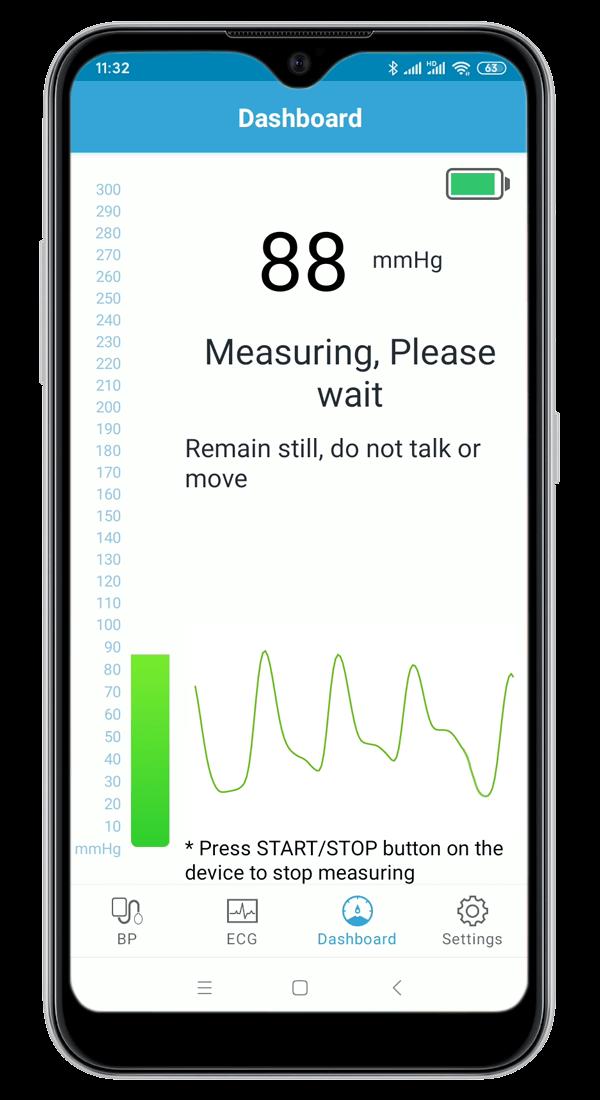 Digital blood pressure monitor with EKG/ECG