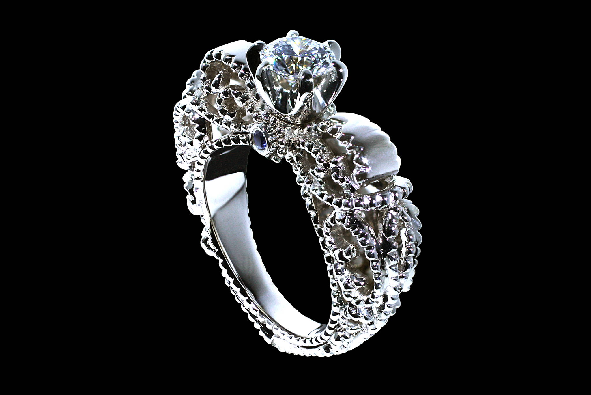 Cinderella Engagement Ring 45 degrees view