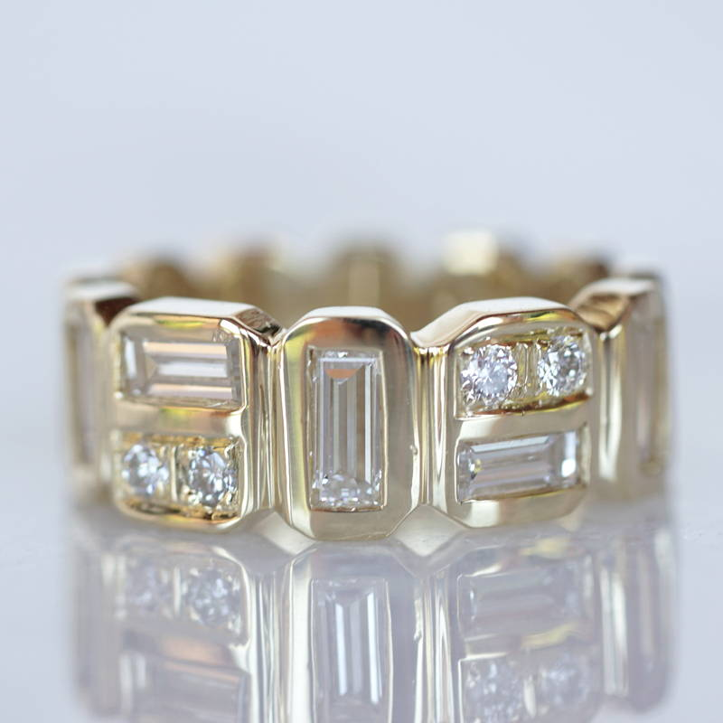 gold band with baguette diamonds