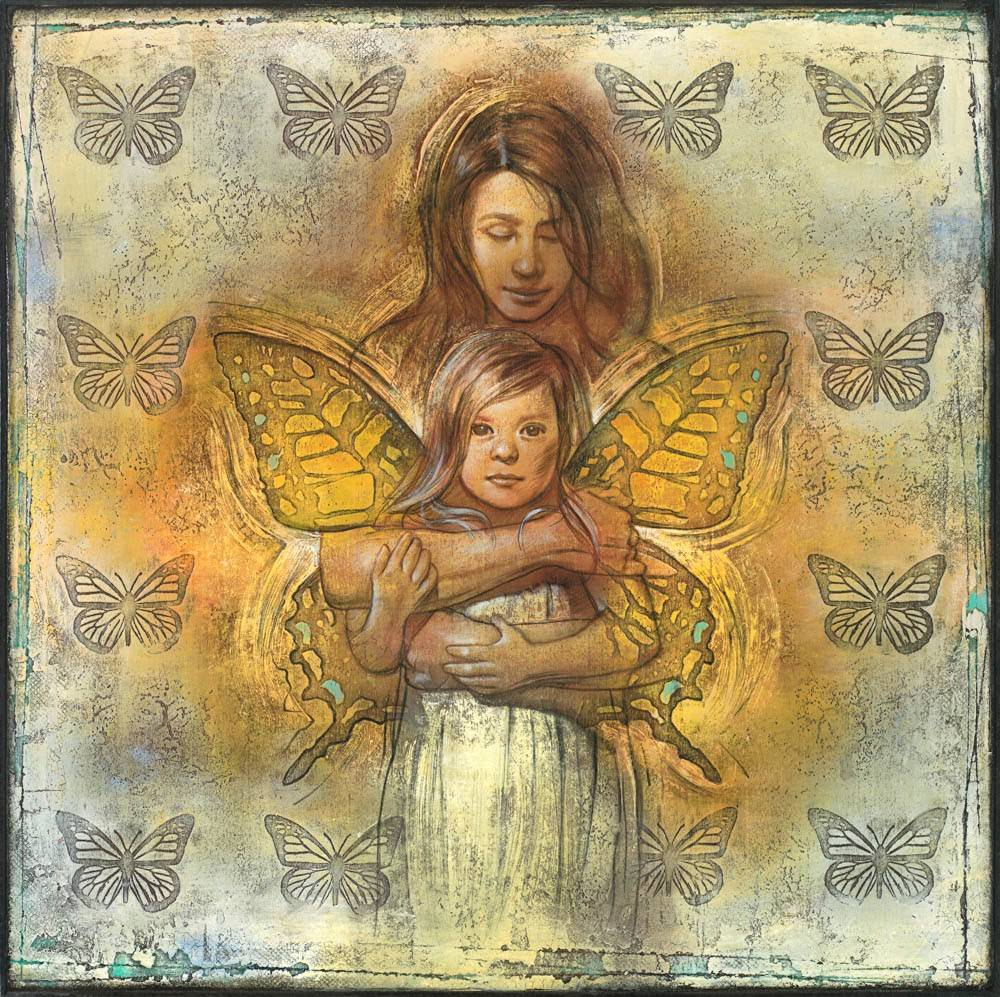 A painting of a mother hugging her daughter. Butterfly wings appear behind the daughter and they are surrounded by a pattern of butterflies.