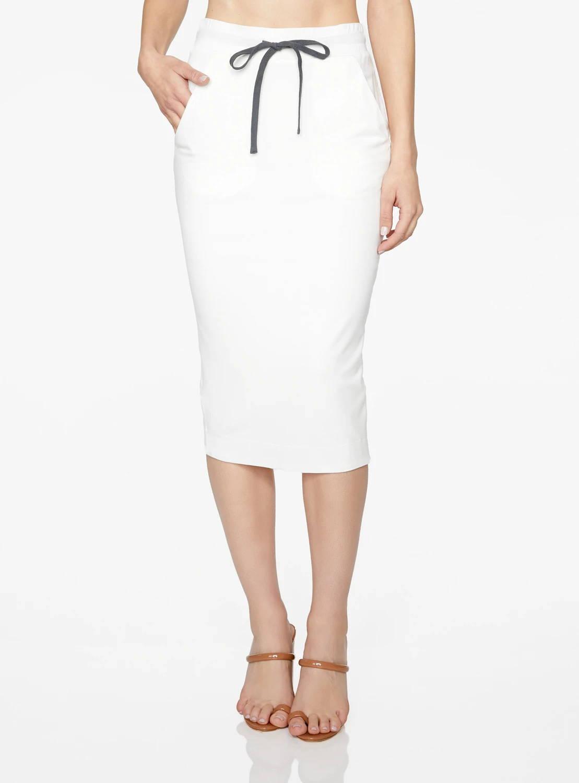 Basic Crème Drawstring Midi Skirt