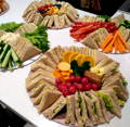 Sandwich, fruit and veg platters, cold buffet, children party menu.