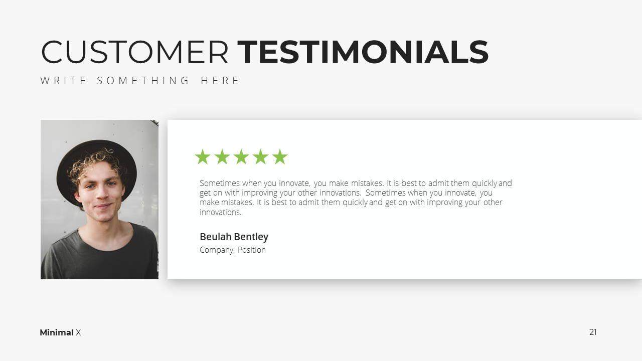 Minimal X Sales Deck Presentation Template Testimonials