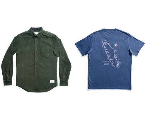 Olive green organic cotton moleskin flannel shirt and french navy blue t-shirt with map of Vancouver island on the reverse, both from sustainable fashion brand Anian