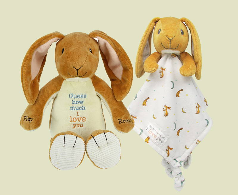 Guess How Much I Love You plush toy of nutbrown hare, and blanket