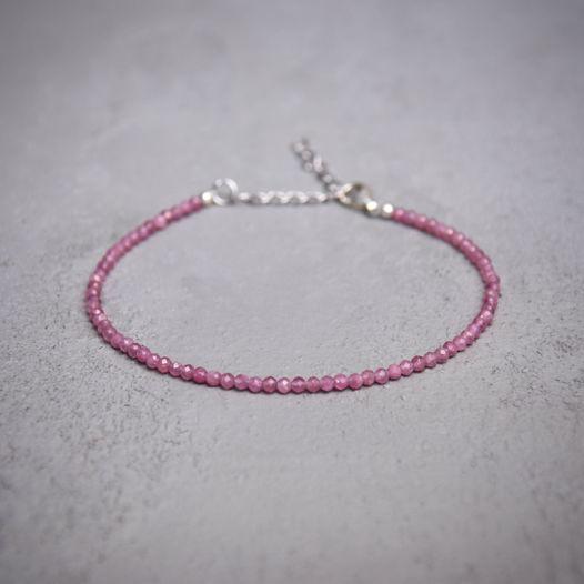 Браслет из розового турмалина с серебром