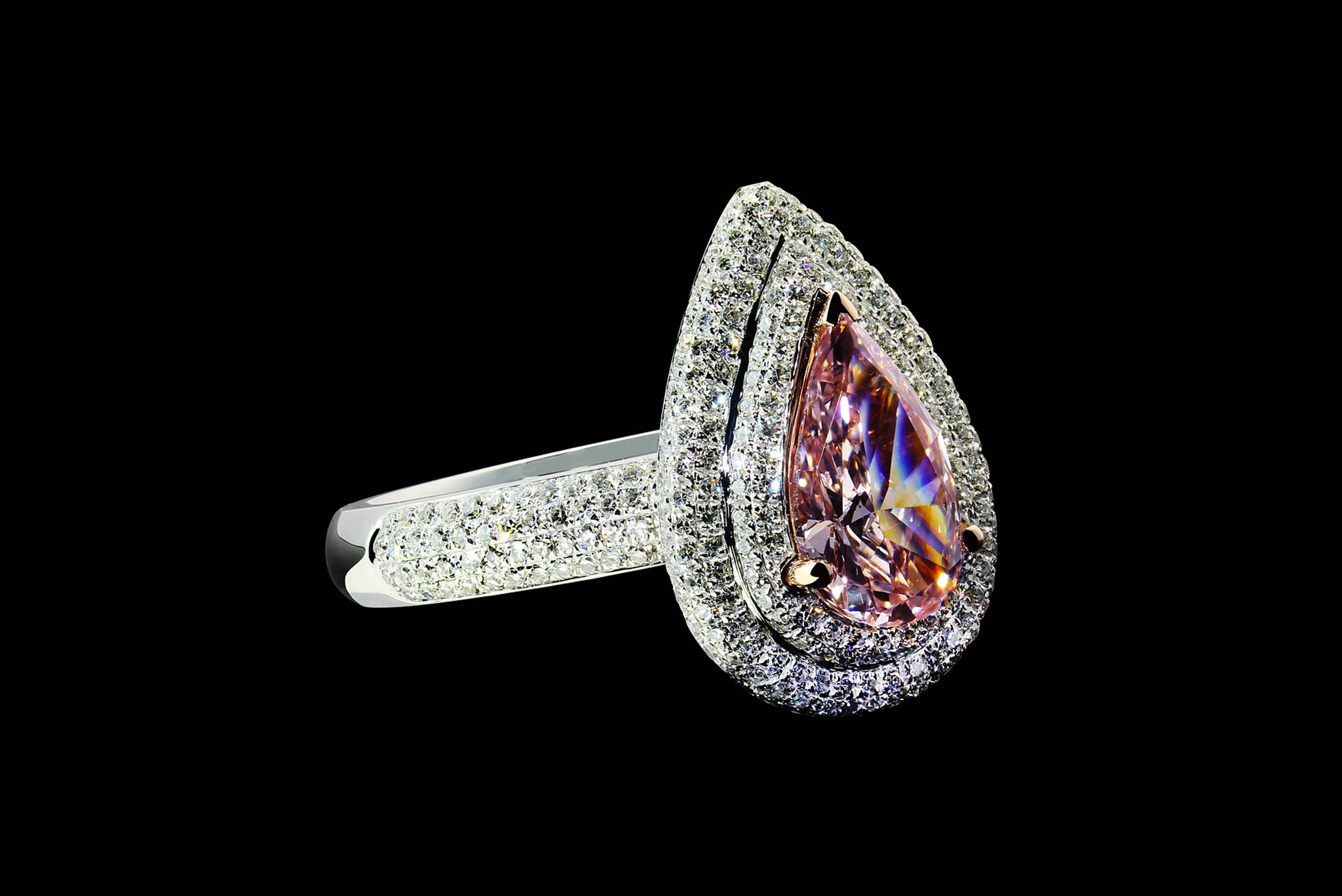 Vintage Style Pink Diamond Ring front view
