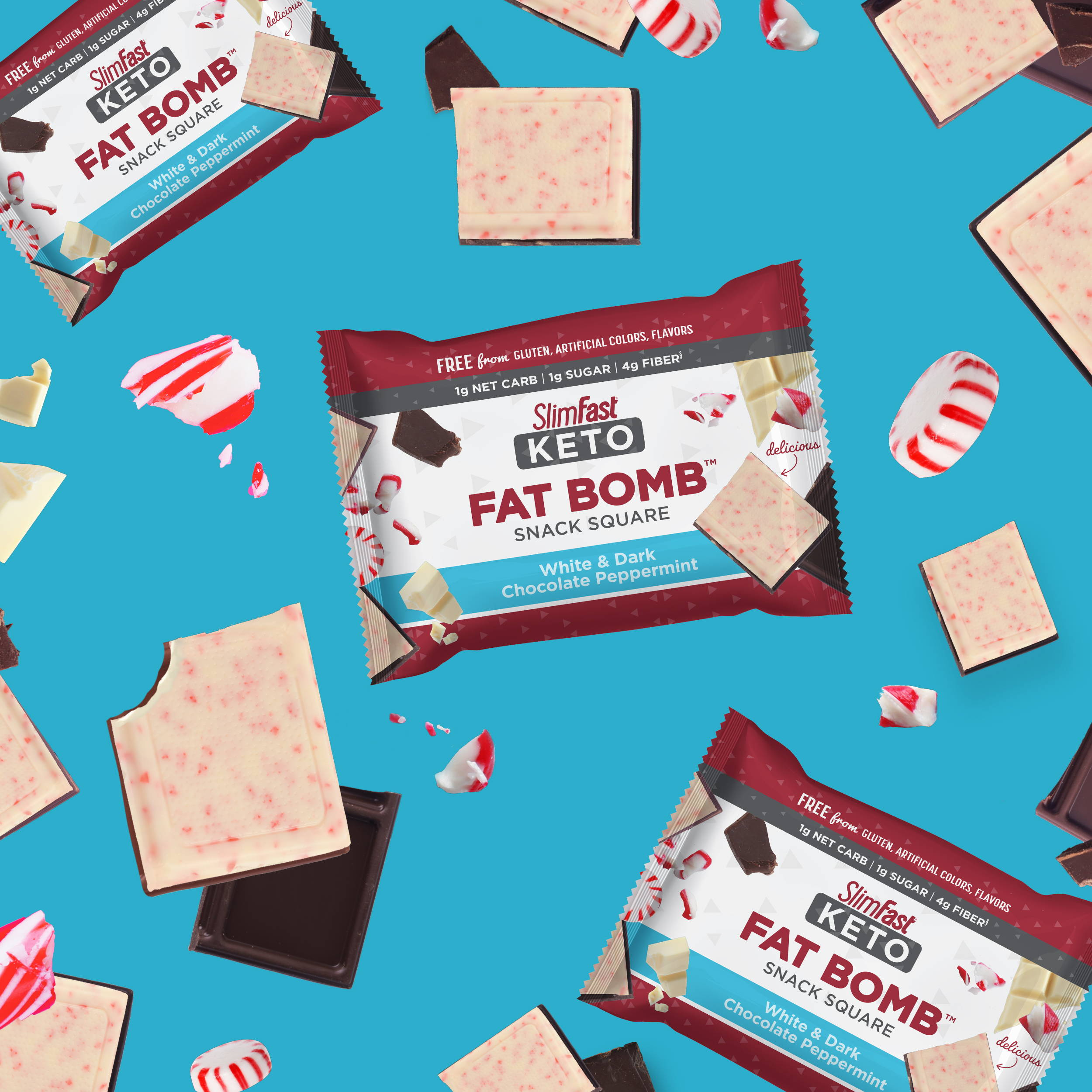Products SlimFast Keto Fat Bomb White & Dark Chocolate Peppermint Snack Square product lifestyle image w