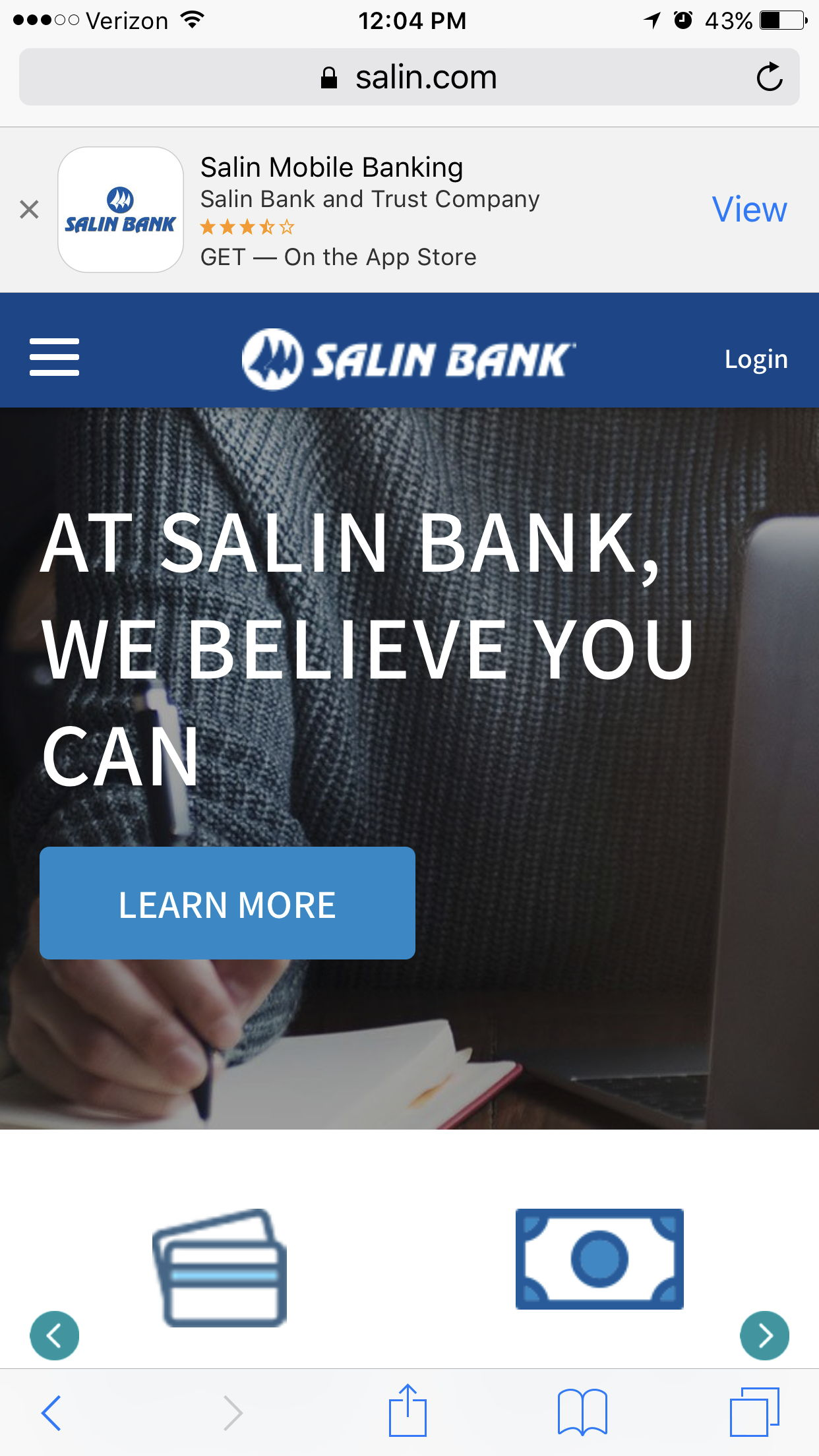 salin bank mobile website and app