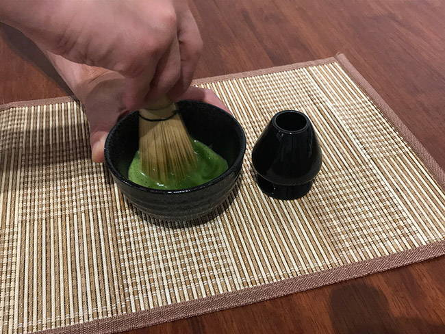 whisk matcha in w shape