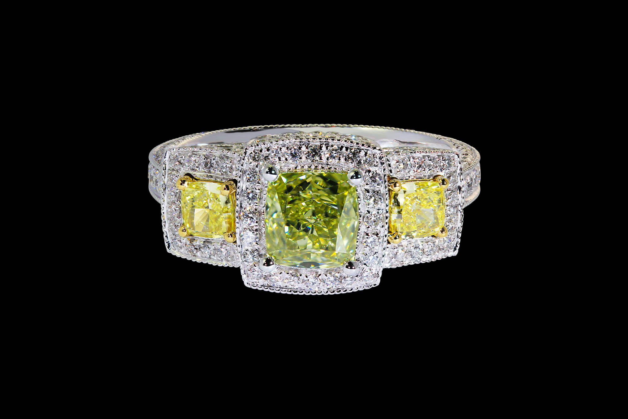 Highly Detailed Natural Colored Diamond Ring front view