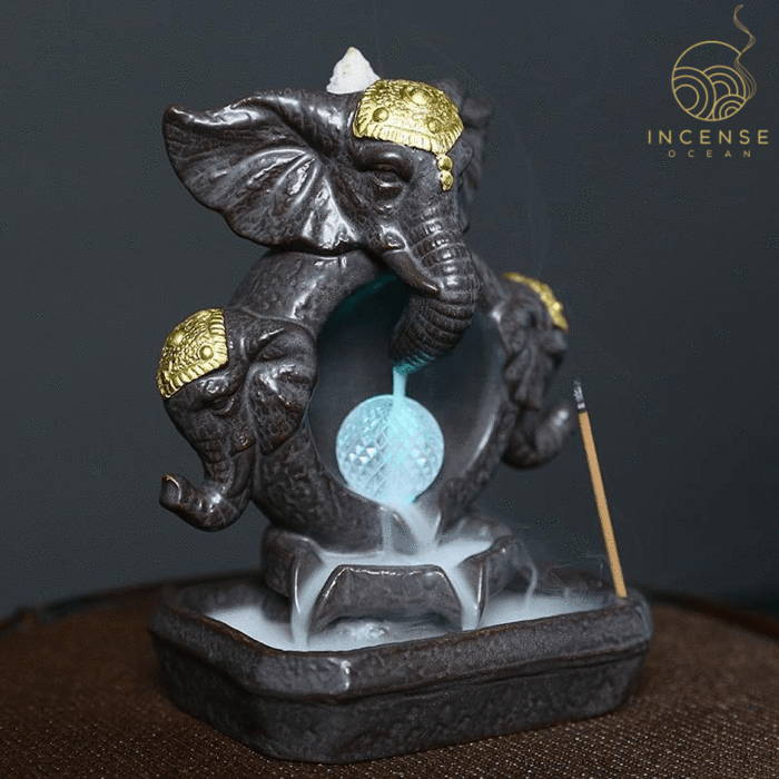 Elephant Statue Waterfall Incense Burner