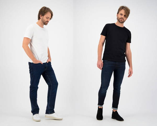 Man wearing organic cotton dark wash jeans from sustainable denim brand Kuyichi