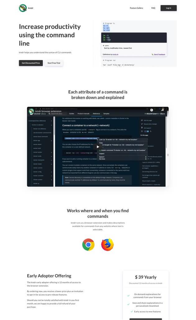 Kmdr.sh software landing page