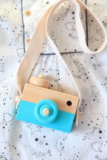 Детский деревянный фотоаппарат бирюзовый