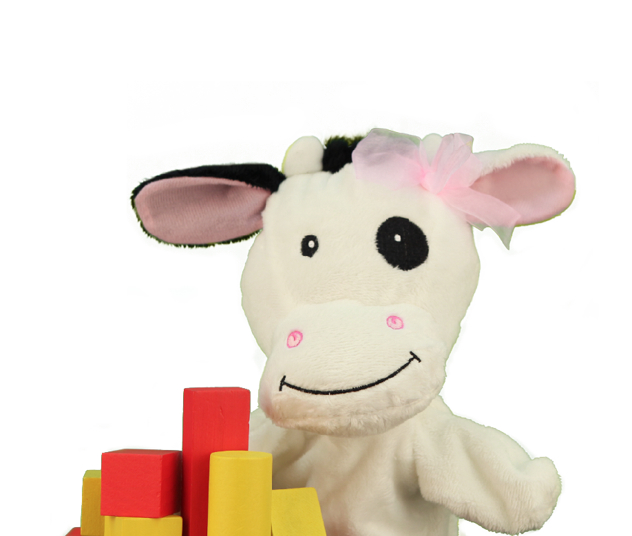 Primrose Friend Molly the cow with loose building blocks