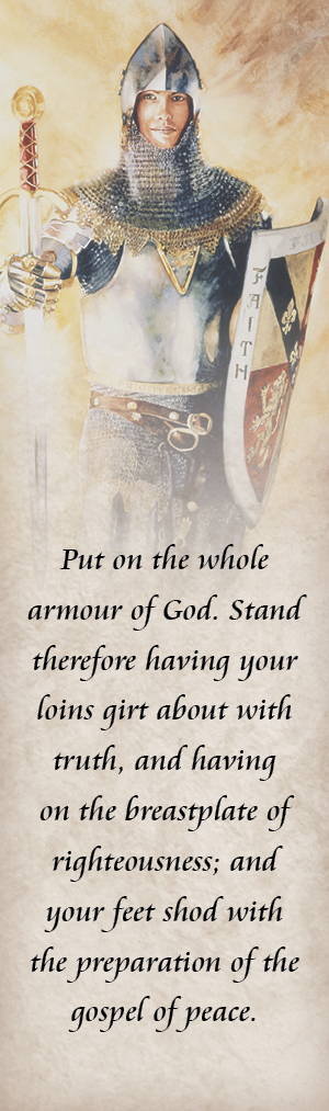 LDS art bookmark with an image of a young man wearing armor andquoting the armor of God scripture.