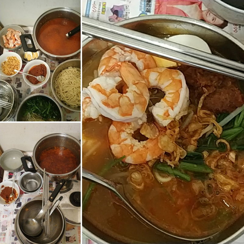 My Penang prawn mee. Can also add Pork and fish ball or fish cake as you like. Yummy as it taste!!