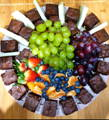 Fruit and brownie platter, party snack for adults, Kidbay Parties, Wallington.