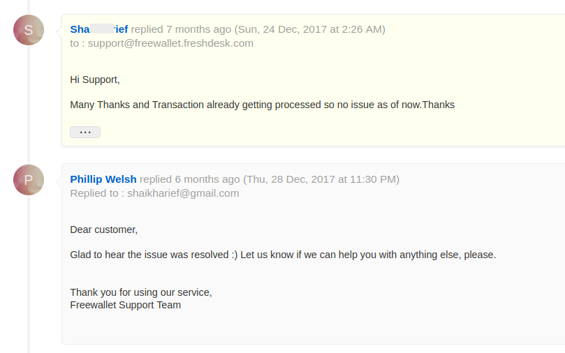 freewallet support