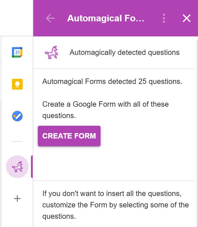 Select or deselect questions and generate a Google Form
