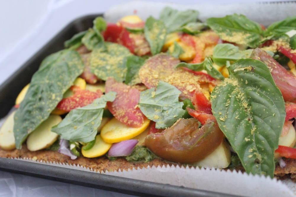 vegan, plant-based, gluten-free, refined-sugar free, grain-free Farmer's Market Bounty Pizza