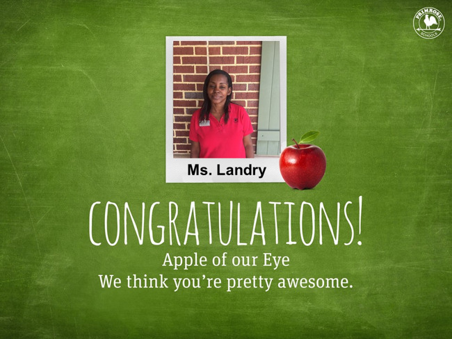 Ms. Landry teacher of the month