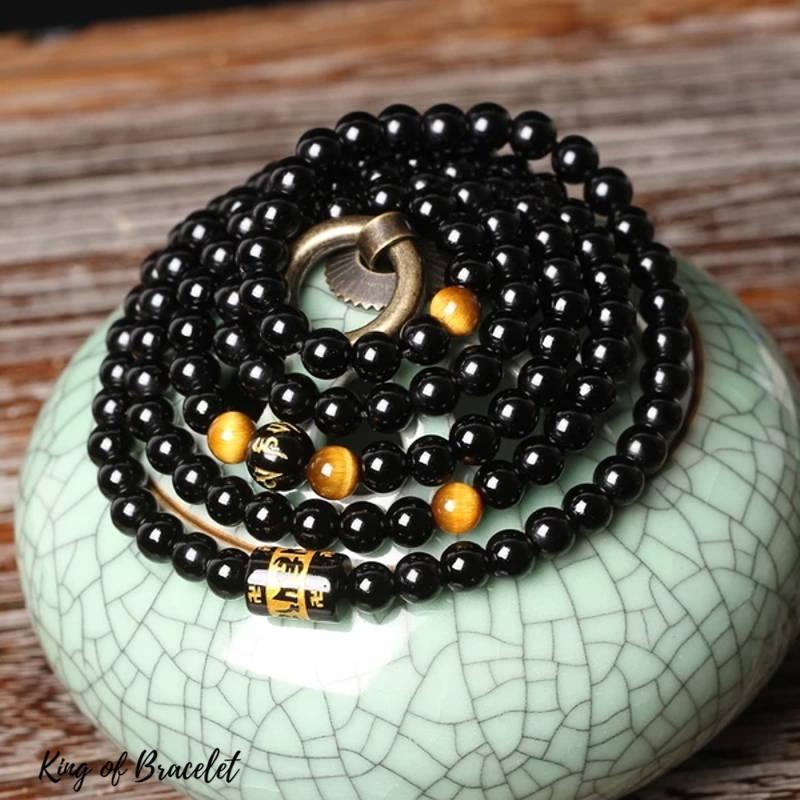 Bracelet Bouddhiste en Perles d'Onyx - King of Bracelet
