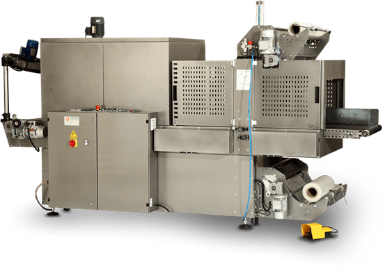 Sleeve wrapping machines for industrial packaging production