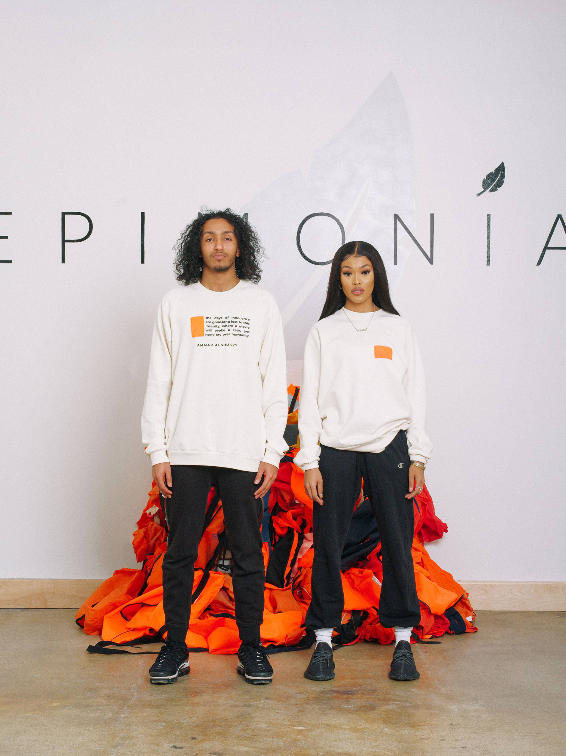 Refugee Models Wearing Epimonia Poem Cream Sweatshirt for New York Fashion Week