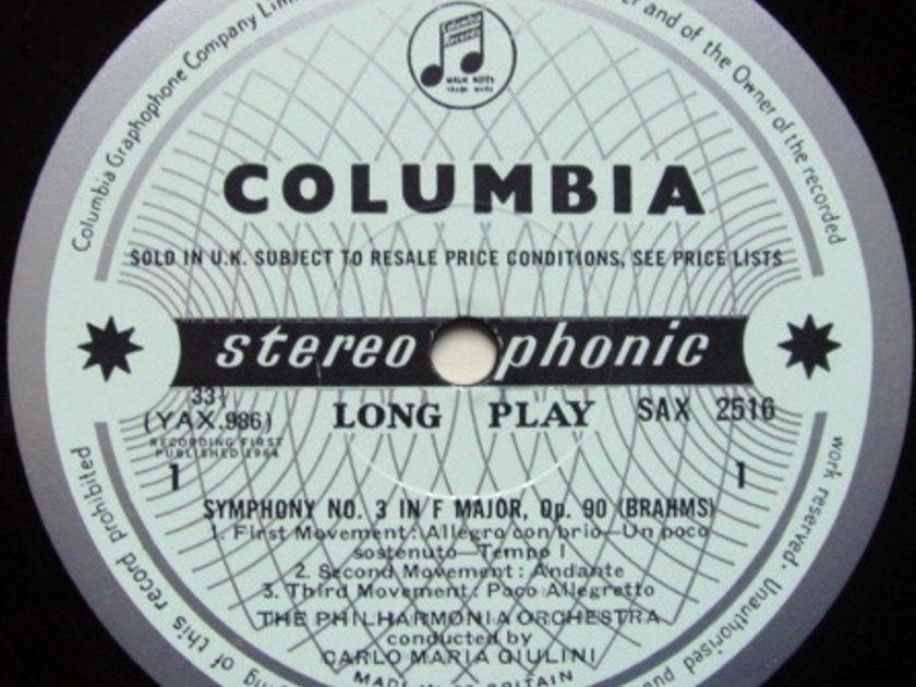 ★1st Press★ UK COLUMBIA SAX BLUE & SILVER / GIULINI, - Brahms Symphony No.3, NM!