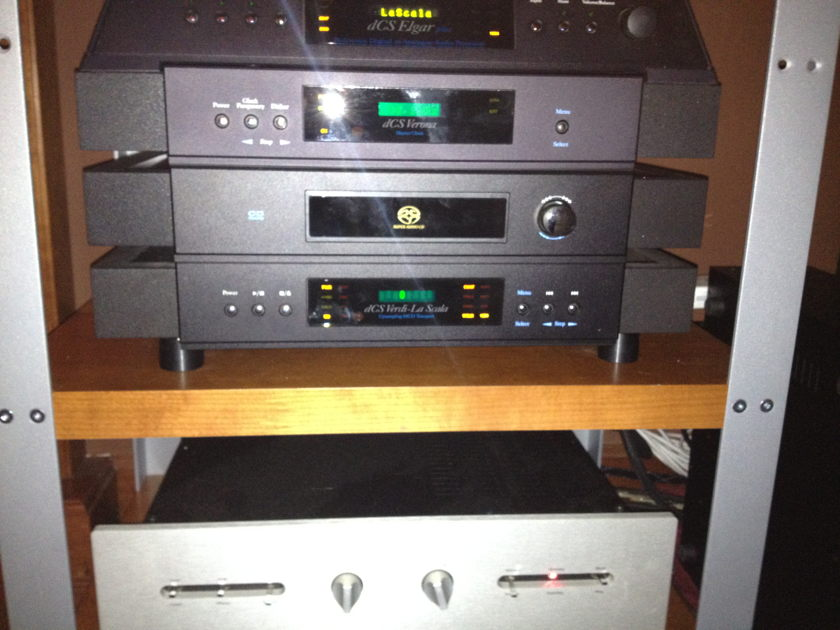 dCS Verdi La Scala Transport, Elgar Plus DAC, and Verona Master Clock Full DCS Stack with upsampling from CD to DSD Mint perfect condition with latest software and Flycases for shipping