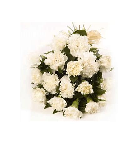 HF White Carnation Bouquet