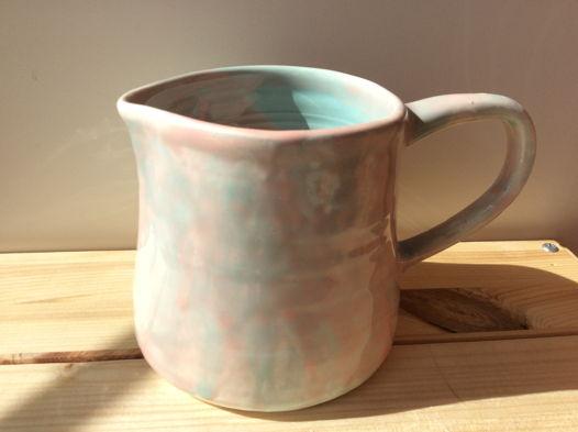 Молочник нежно розово-бирюзовый