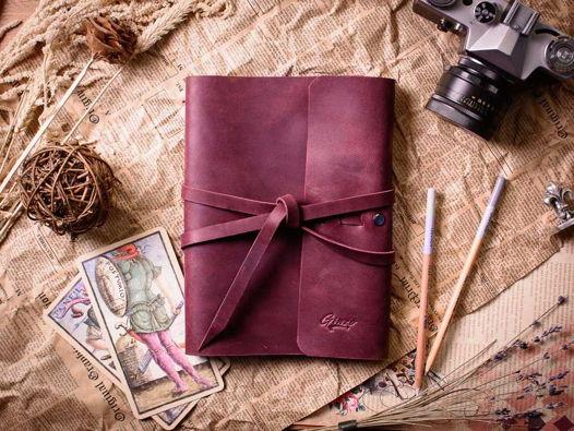 Блокнот кожаный а5 -MYSTERY- цвет Бордо