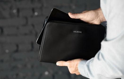 Чехол для планшета из натуральной кожи, модель Zipper Case. Black