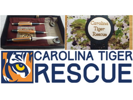 Hand Turned Writing Set and Carolina Tiger Rescue Membership and Pawcasso Cards