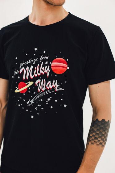 Футболка с принтом Milky way черная