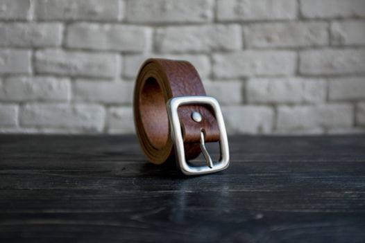 Кожаный Ремень ПРЕМИУМ ( Итальянская кожа растительного дубления + пряжка ручной работы)